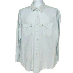 Holt Western Pearl Snap Shirt Size XL Blue White
